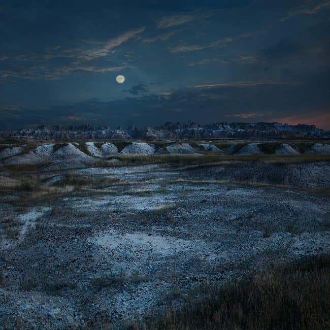 Fine Art Photo of a Full Moon Over The Badlands National Park in South Dakota