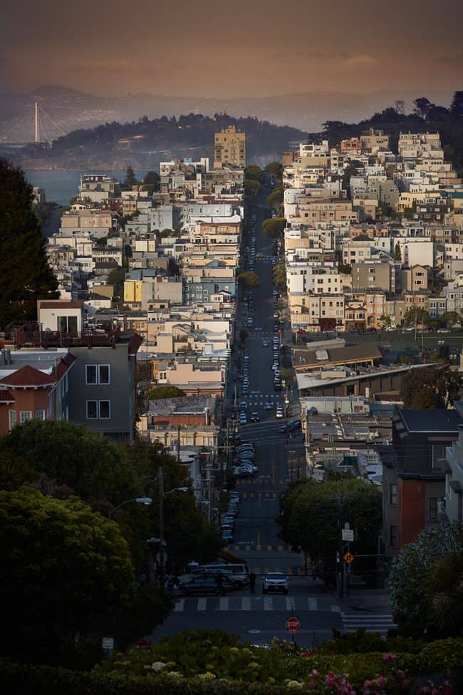 Fine art photo from the top of Lombard Street or the curvy street in San Francisco California by Paul Heckel of Heckel Photography.