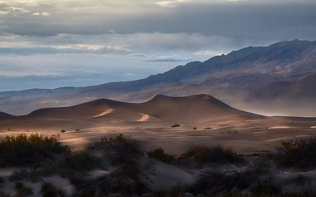 photograph of the sand dunes at mesquite flat in Death Valley National Park by fine art photographer Paul Heckel