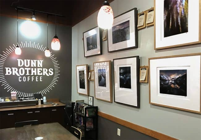 Photography hanging on the walls of Dunn Brothers Coffee on East 10th in Sioux Falls, SD