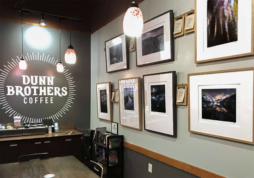 Photography by Sioux Falls based landscape photographer Paul Heckel hanging on the walls of Dunn Brothers Coffee on East 10th in Sioux Falls, SD