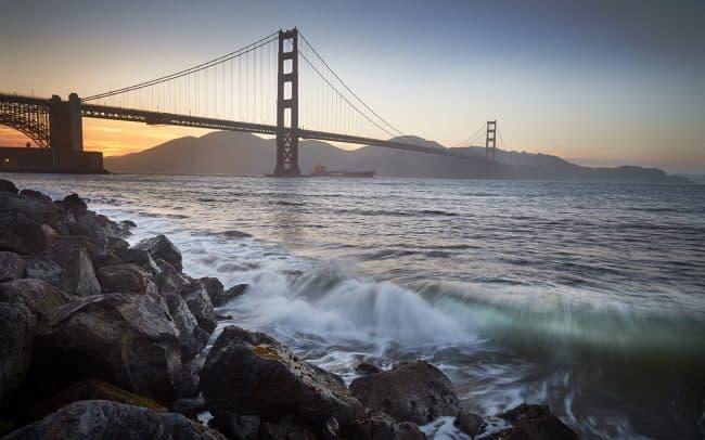 Sunset fine art photograph of the Golden Gate Bridge in San Francisco California by landscape photographer Paul Heckel.