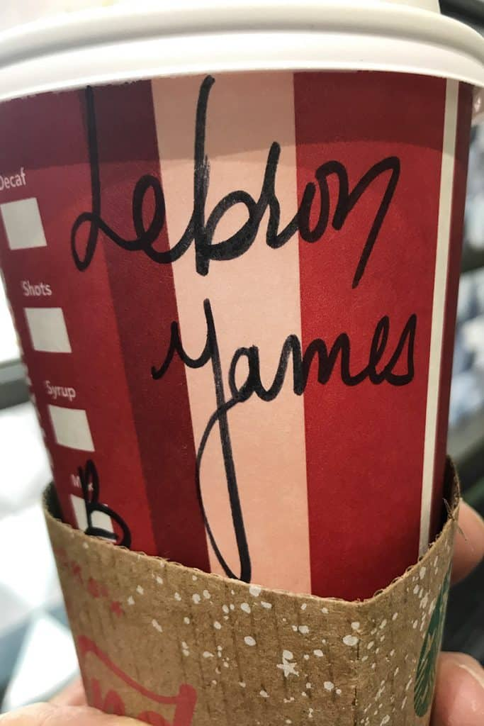 Funny photo of a Lebron James Starbucks cup while commercial photographer Paul Heckel was traveling through Florida's Miami International airport.