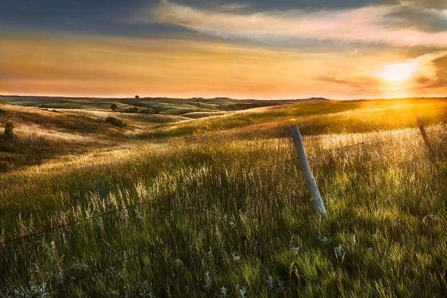 Photograph of a prairie sunset near Mobridge South Dakota photographed by Sioux Falls based landscape photographer Paul Heckel.