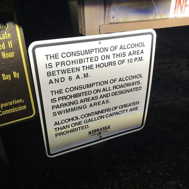 Photographer Pau Heckel found this lNiobrara State Park in Nebraska Alcohol Policy sign.