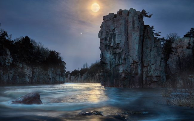 Photograph of the Moon at Palisades State Park Garretson South Dakota by Sioux Falls based landscape photographer Paul Heckel.