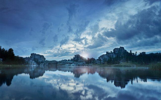 Photograph of clouds over Sylvan Lake in the Black Hills of South by landscape photographer Paul Heckel
